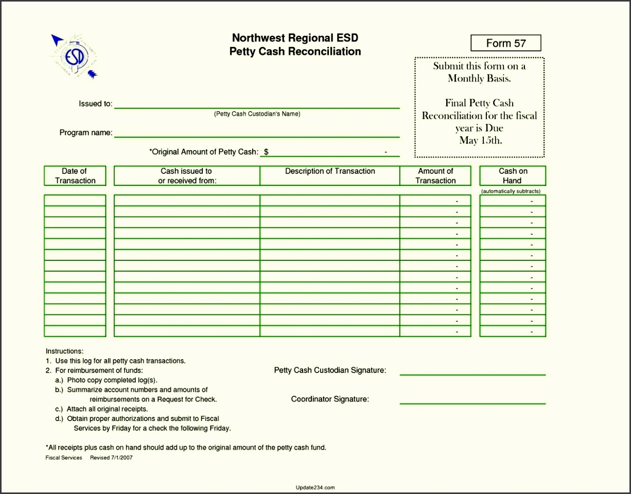 Simple Petty Cash Reconciliation Template Template Update234