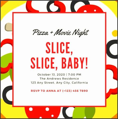 Pizza Party Invitation Template Pizza Graphic With Cream Shape Pizza Party Invitation Templates Free