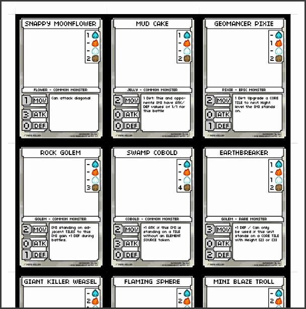 Here you can see the IDD template with the data already in place This is not the final card design just for play testing purposes