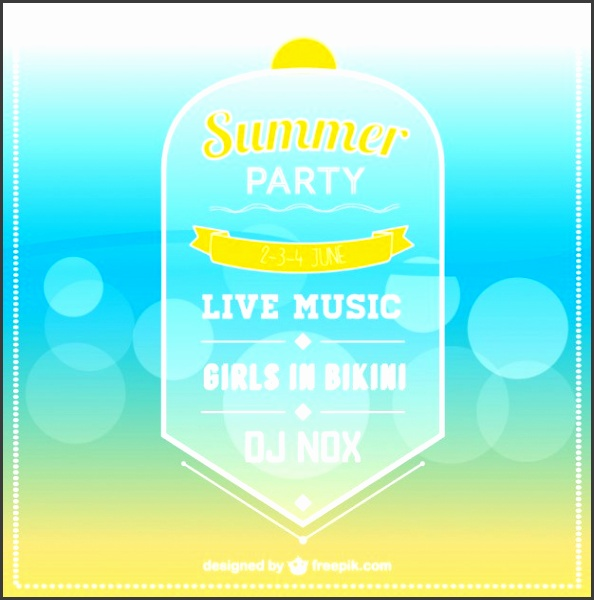 Summer party invitation template Free Vector