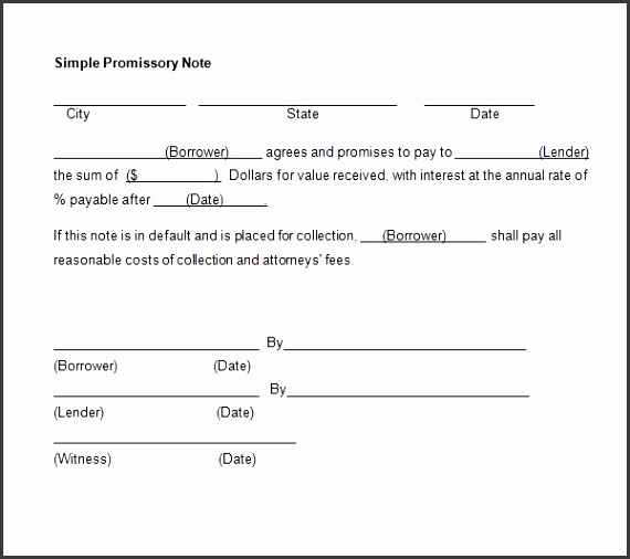 7 Promissory Note Template Uk