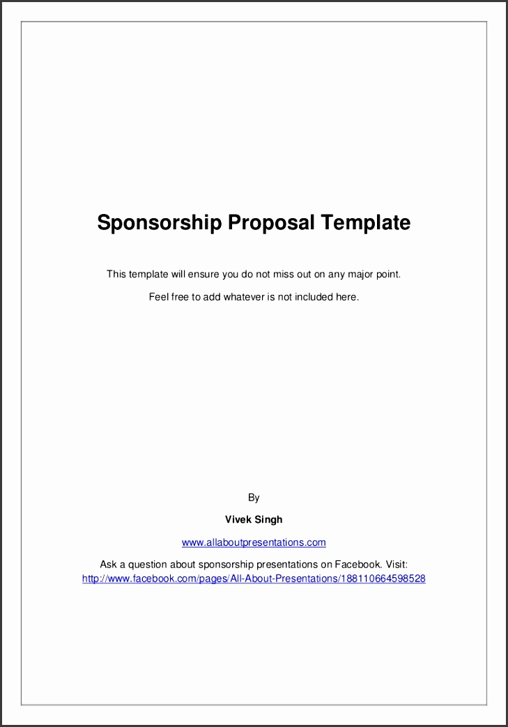 Sample A Sponsorship Proposal Business Project Proposal Format
