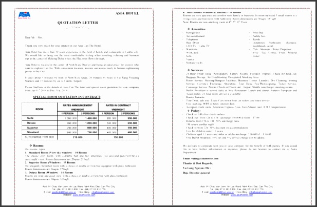 Hotel Quotation Template for PDF