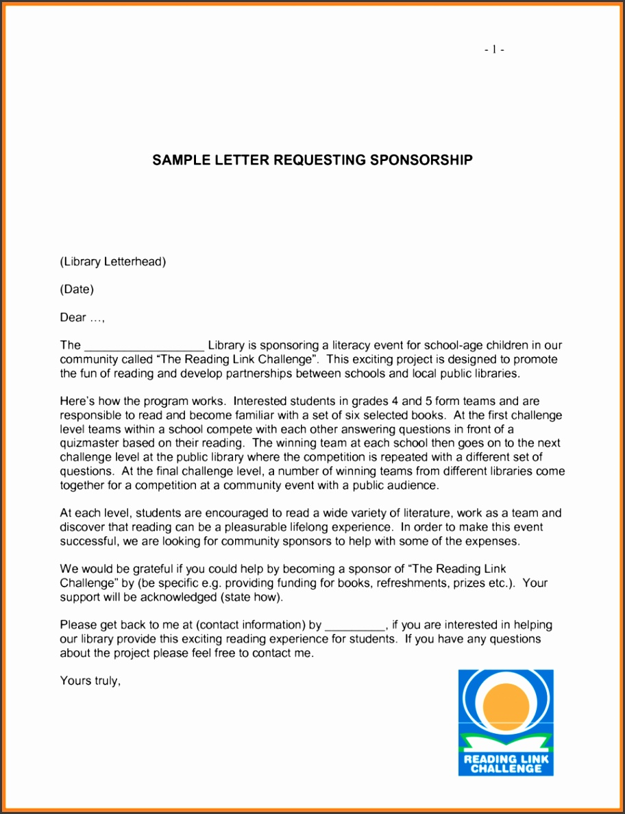 Team Sponsorship Letter Template Free on free sample, non-profit corporate, small business, sample church, for sports team, youth football,