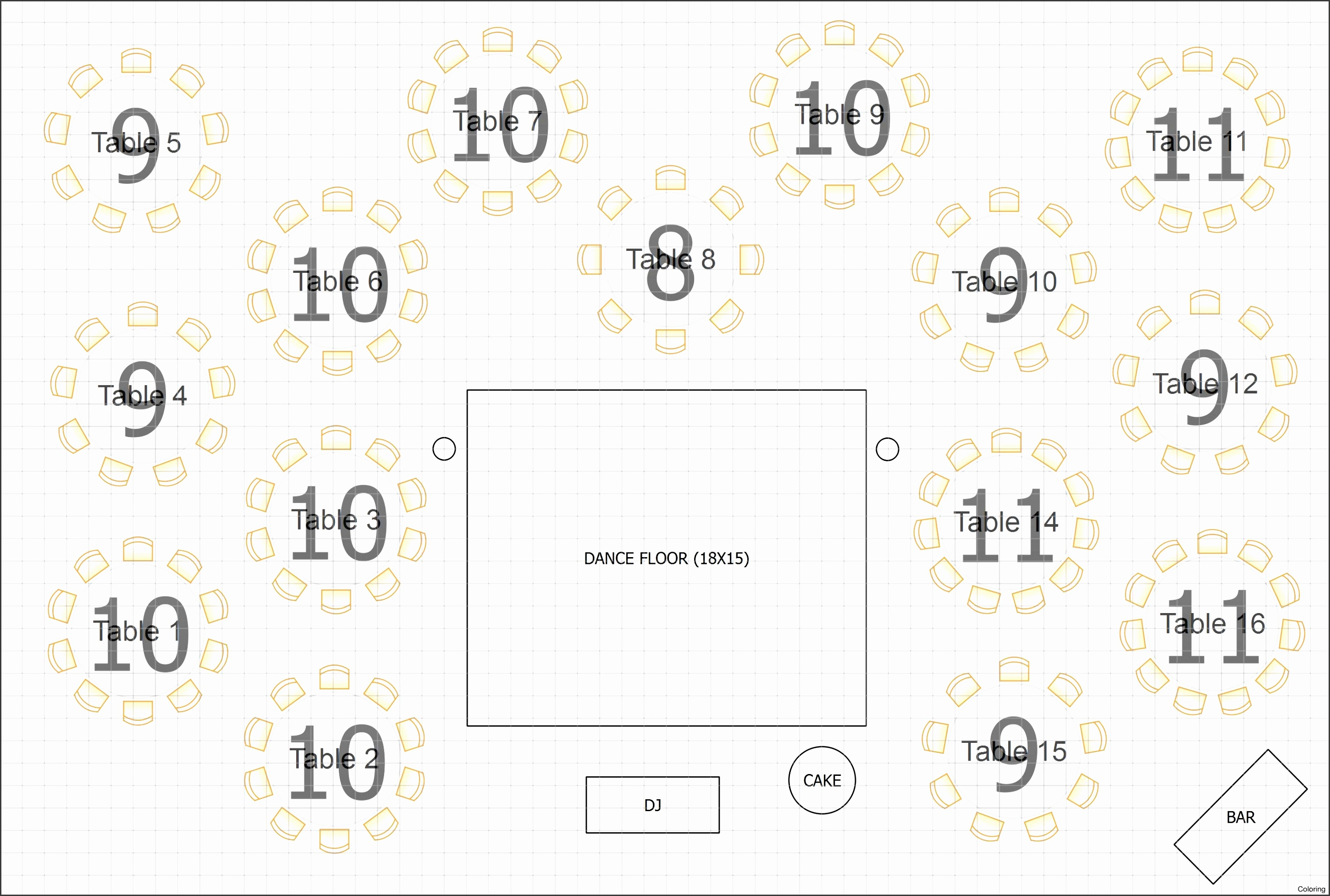 6 reception seating chart template
