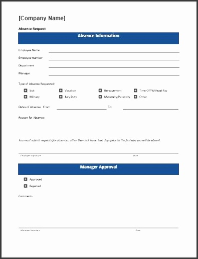 Preview and Details of Template Time off request form template