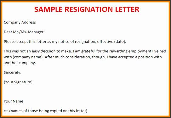 resignation letter template sample resignation letter