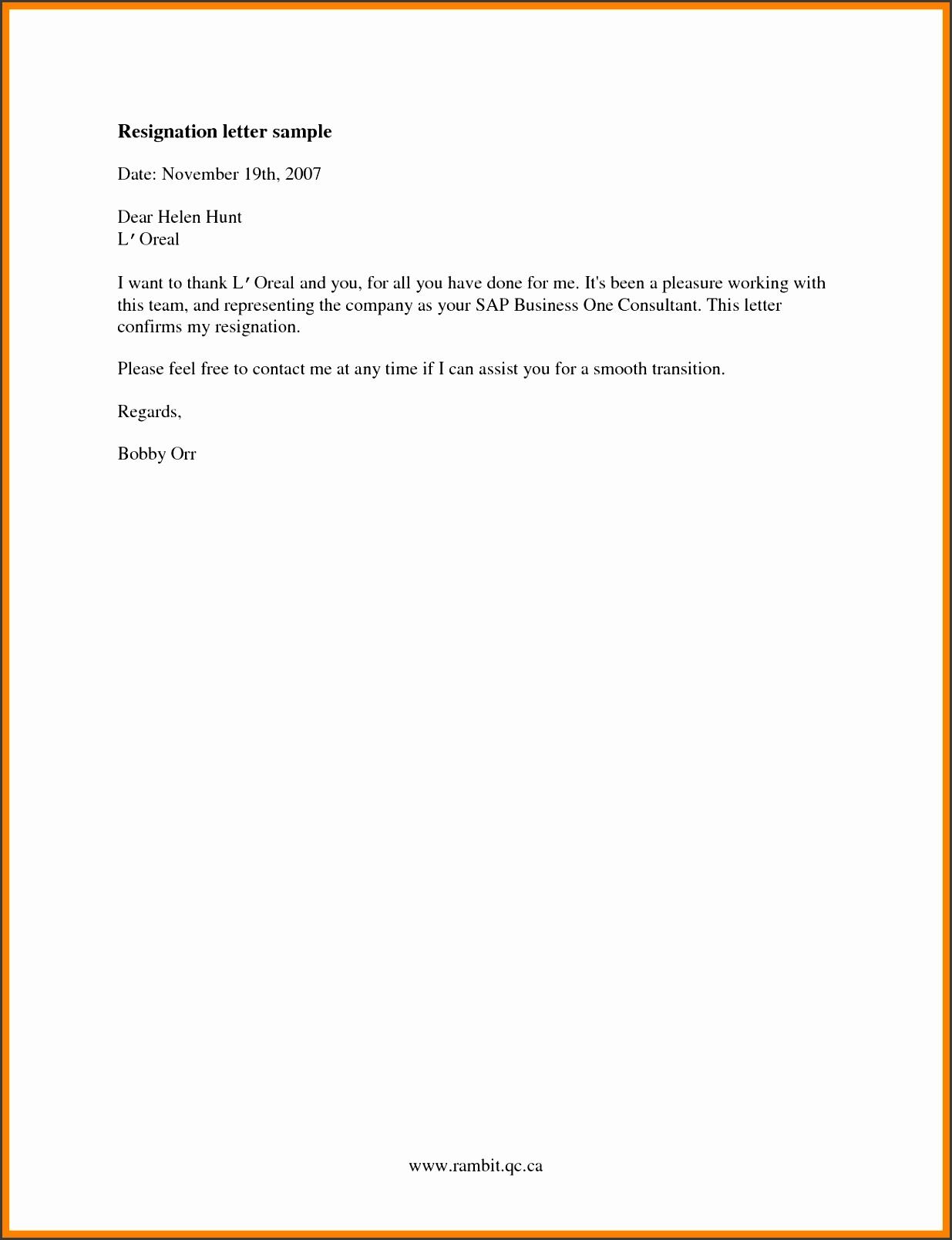 6 resignation letters templates