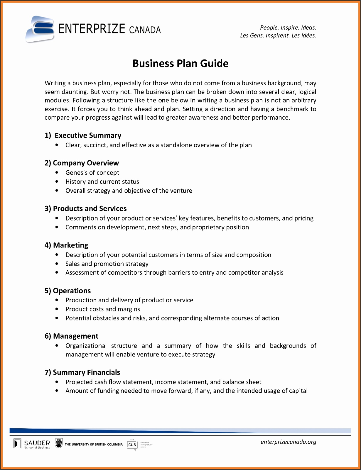 a example of a business plan format