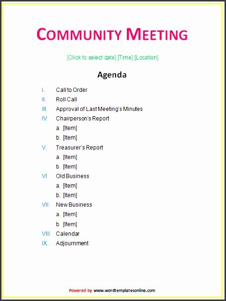 munity meeting agenda template