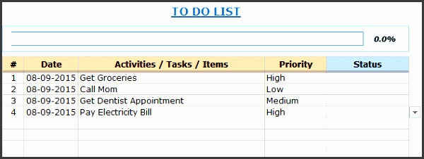 excel to do list template free