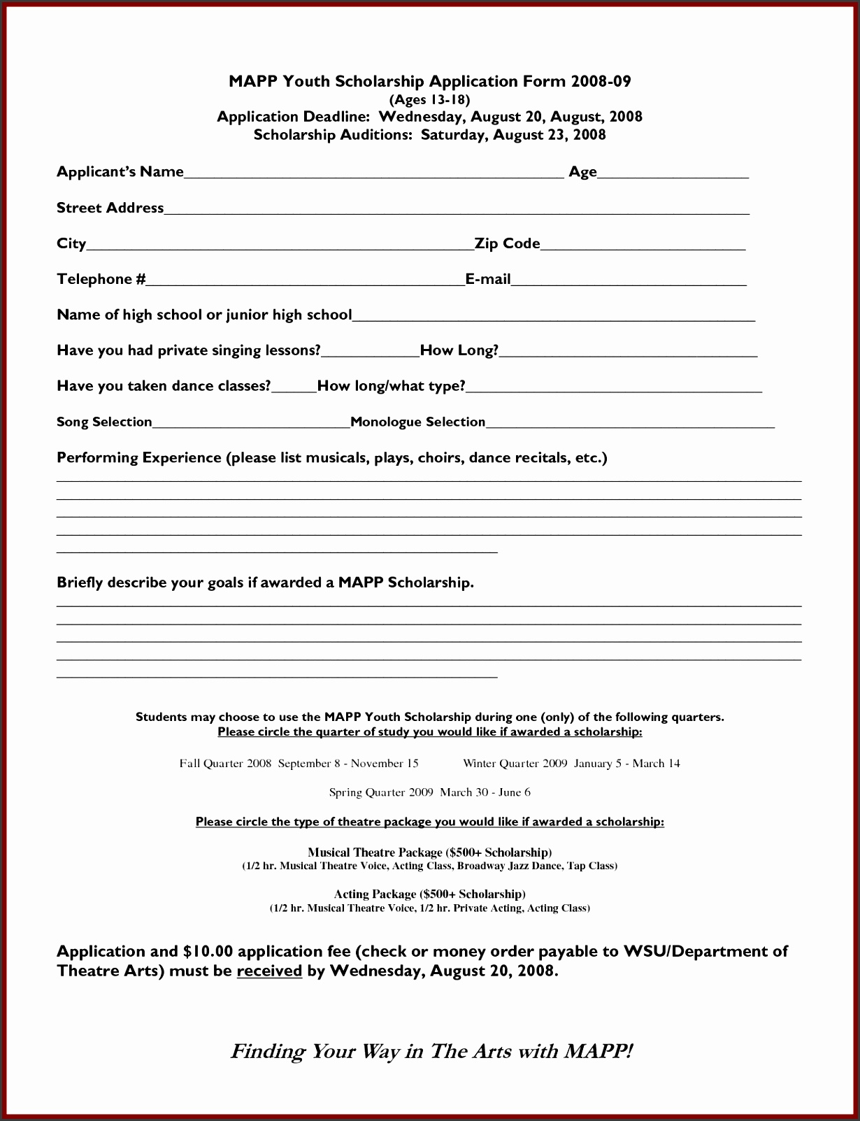 Scholarship Application Form Template MAPP Youth Scholarship Application Form 0809 by PrivateLabelArticles