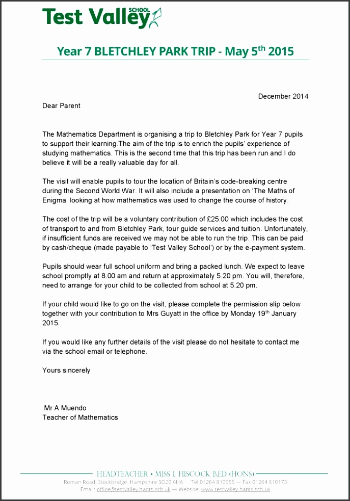 Bletchley Park letter to parents