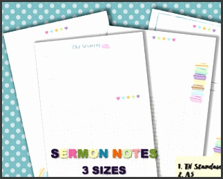 Sermon notes journal pdf template printable notebook page christian planner inserts faith planner 3