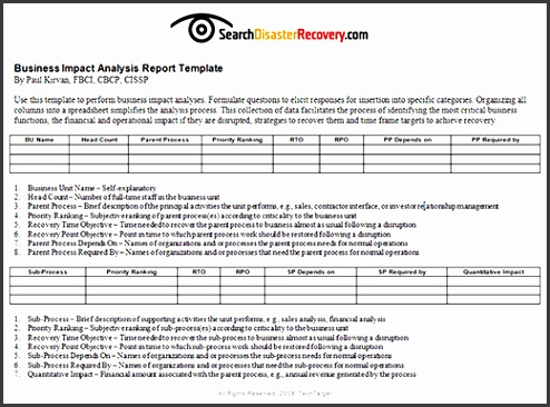 Simple Business Impact Analysis Template  Sampletemplatess