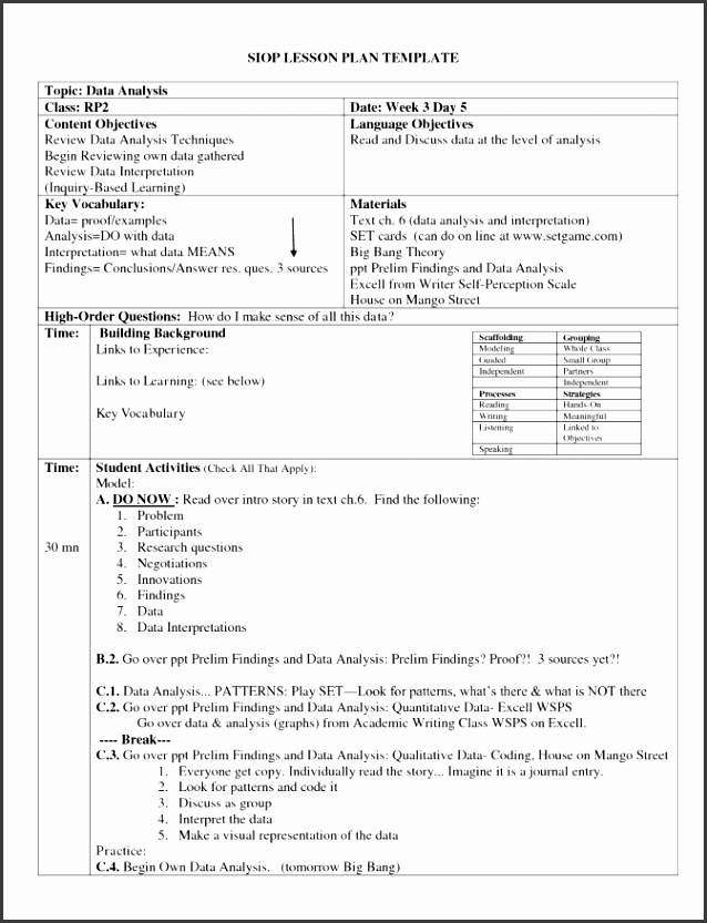 Siop Lesson Plan Templates  Sampletemplatess  Sampletemplatess