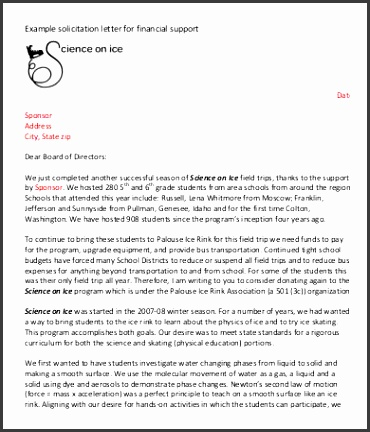 Financial Solicitation Letter Template