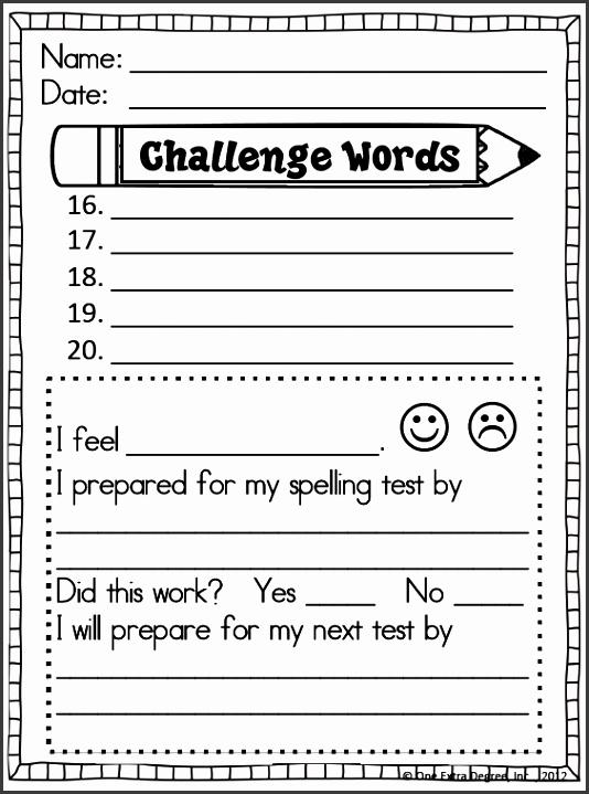 spelling word list template