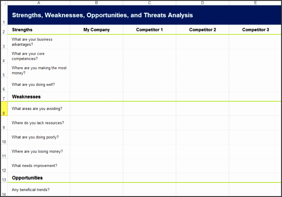 6 swot analysis template xls