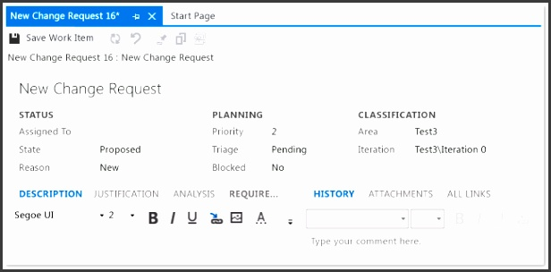 Change Request Work Item Form