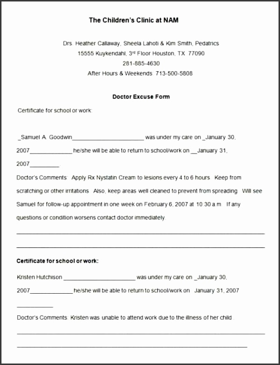 hospital note template