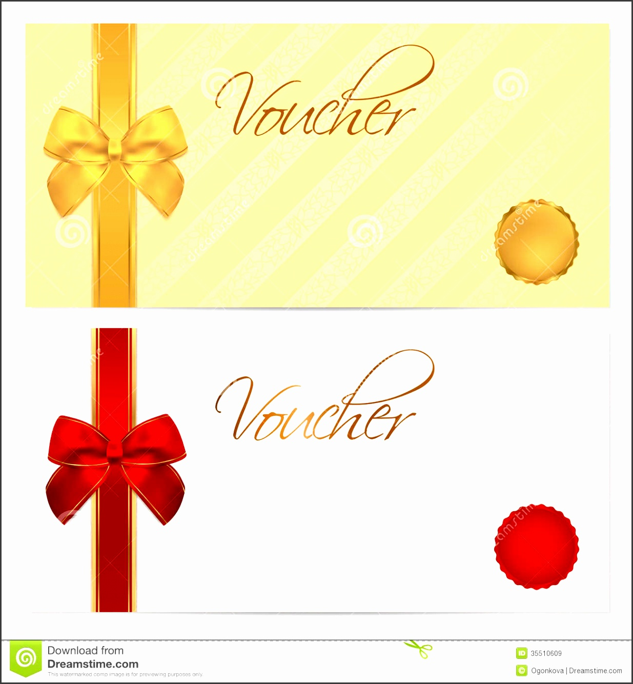 Voucher Gift certificate Coupon template Bow