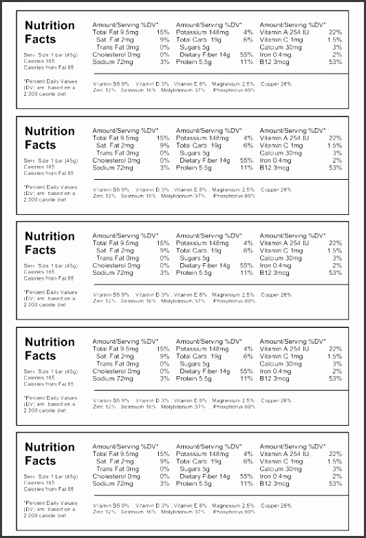 6 template for nutrition facts label