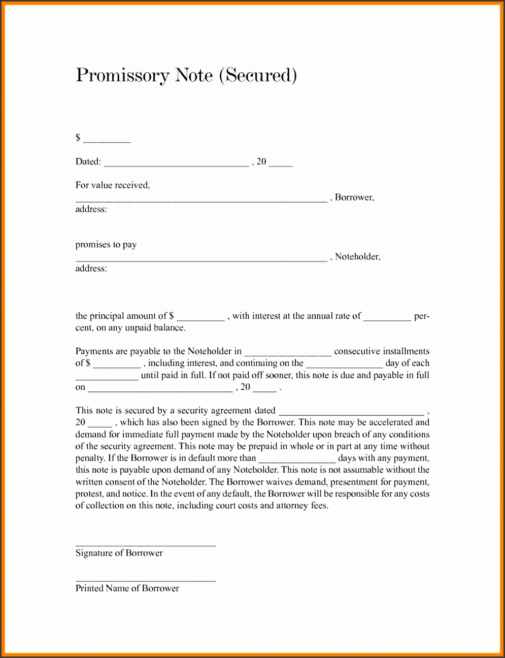 unsecured promissory note template