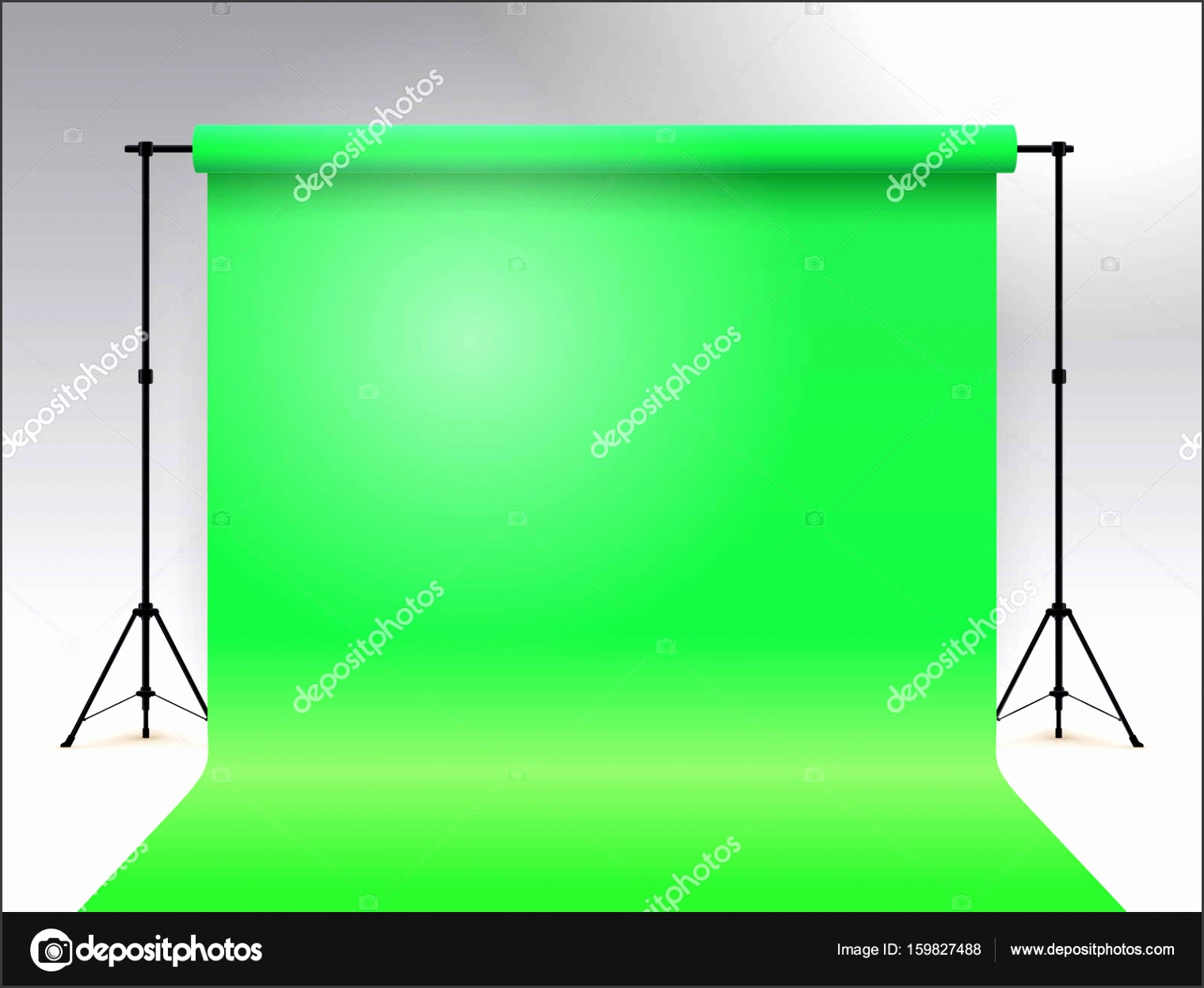 Empty photo studio Realistic template mock up Backdrop stand tripods with green paper backdrop Gray background Vector illustration