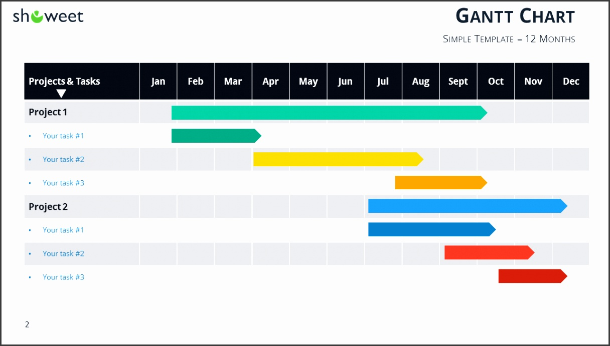 Gantt chart template for PowerPoint 12 Months Widescreen