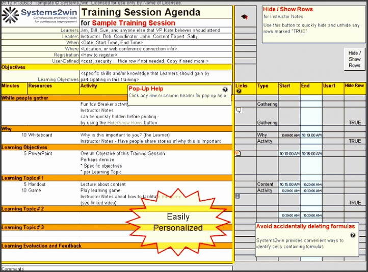 Training Session Agenda Excel template
