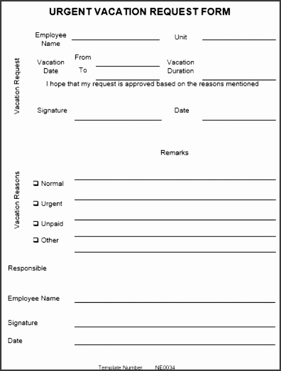 NE0034 Urgent Vacation Request Form Template – English