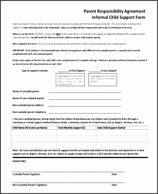 5 voluntary child support agreement template