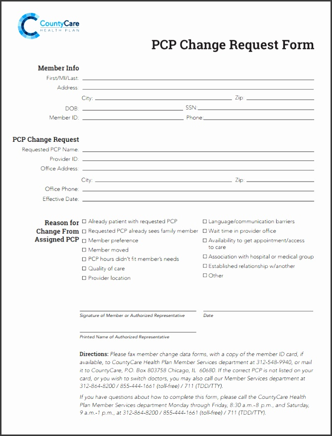 Countycare Pcp Change Request Form