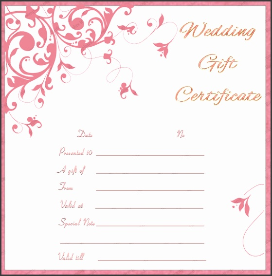 Preview of Tea Pink Wedding Gift Certificate Template