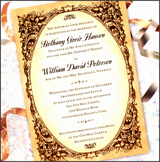 Elegant Wedding Invitations Templates 31 Elegant Wedding Invitation Templates Free Sample Example