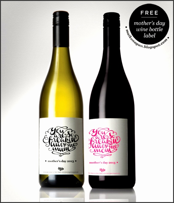 Freebie Mothers Day wine label by Maiko Nagao Download print free wine bottle label