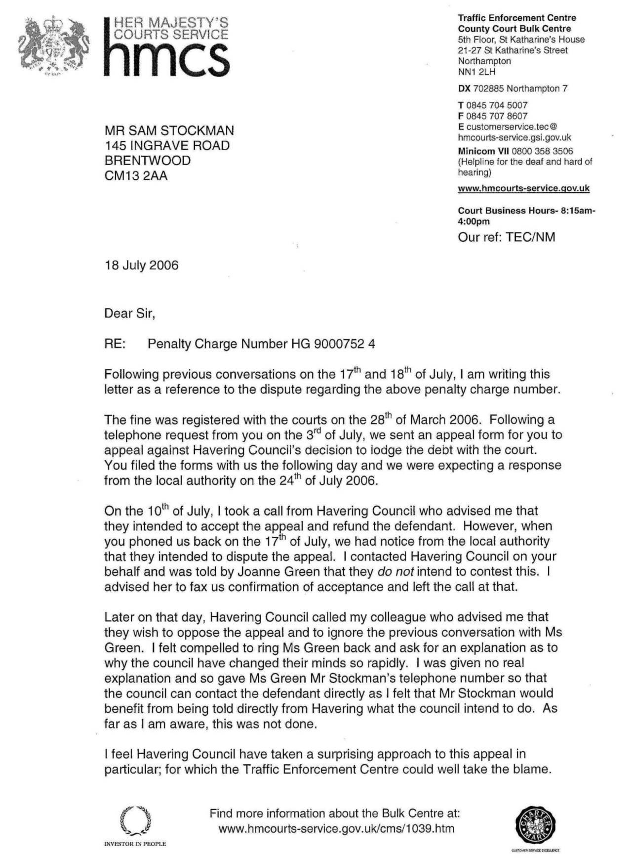 appeal parking ticket letter
