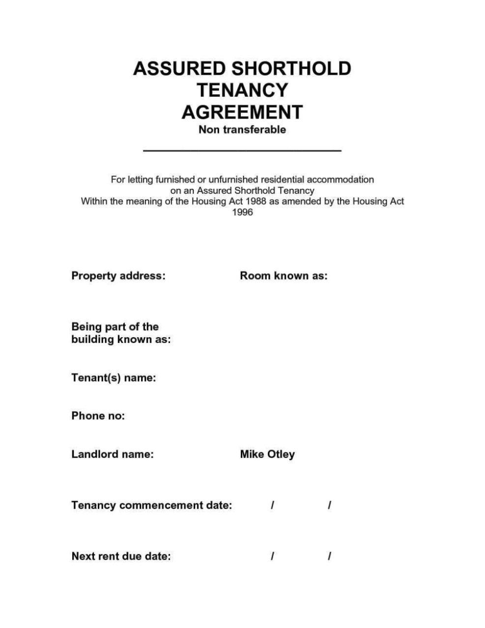 Assured Shorthold Tenancy Agreement Pdf