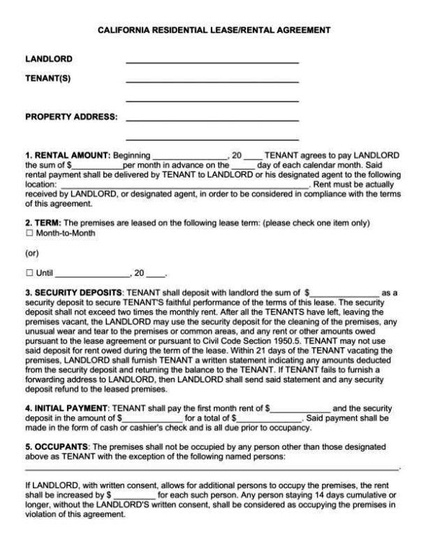 california rental agreement template