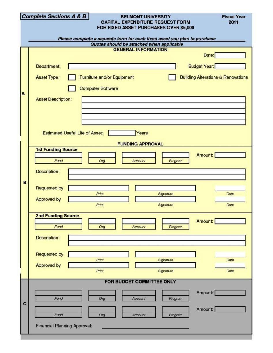 capital expenditure form template - sampletemplatess