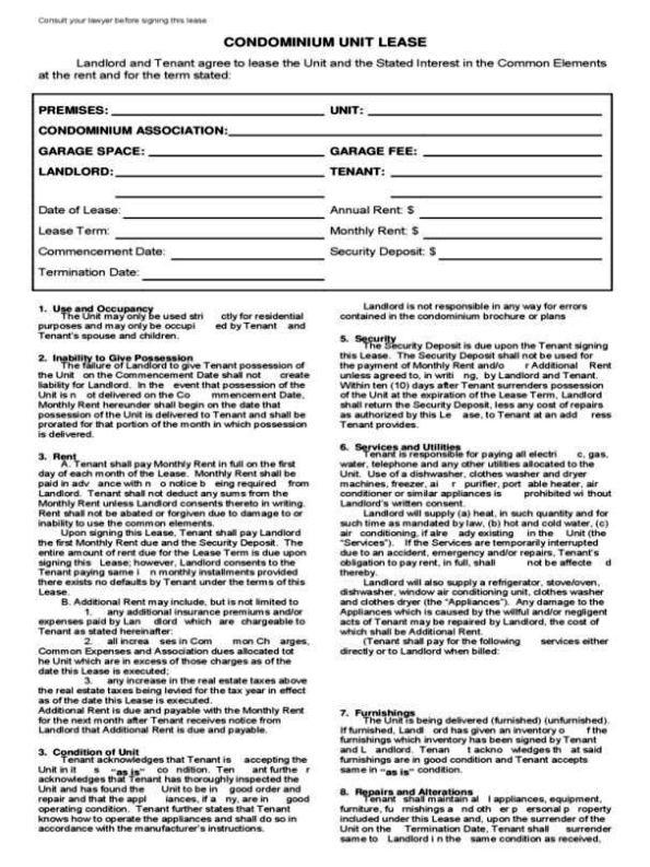 Condo Lease Agreement Template Sampletemplatess