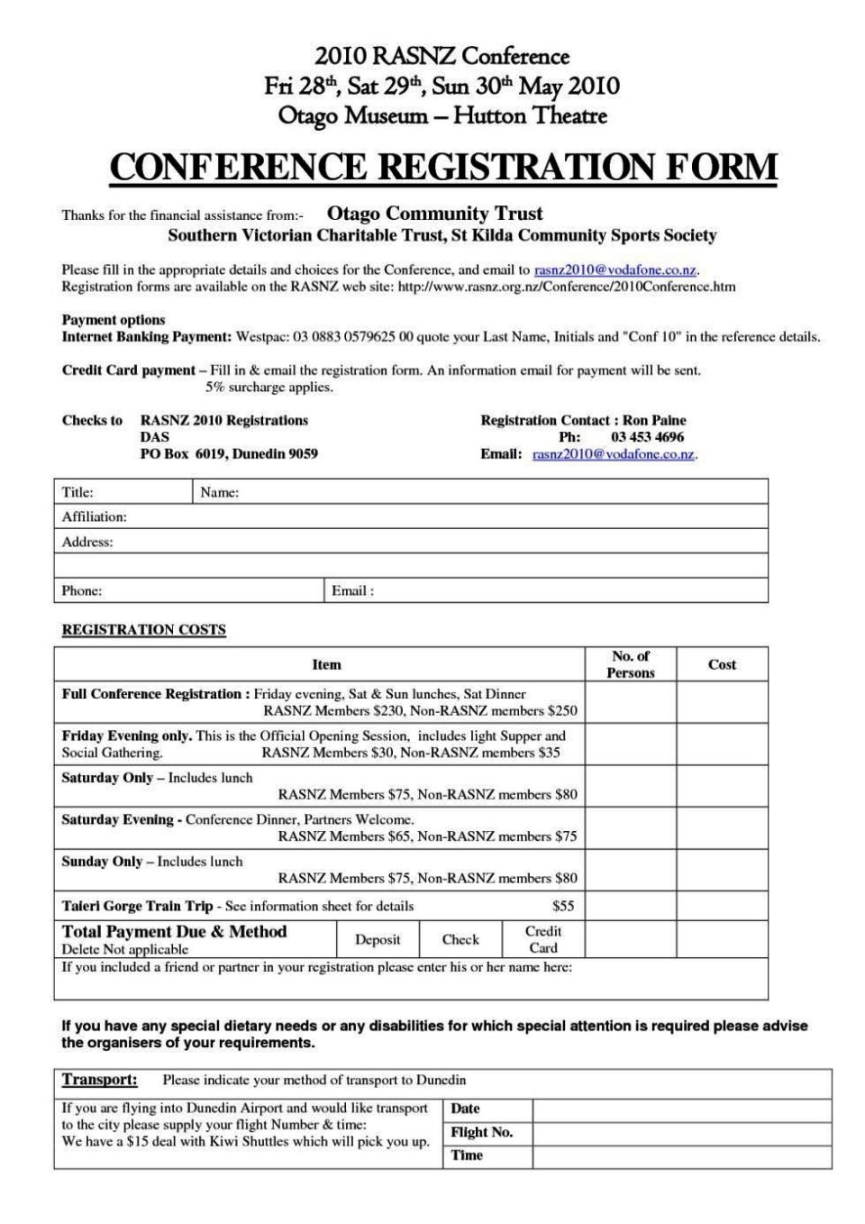 conference booking form template