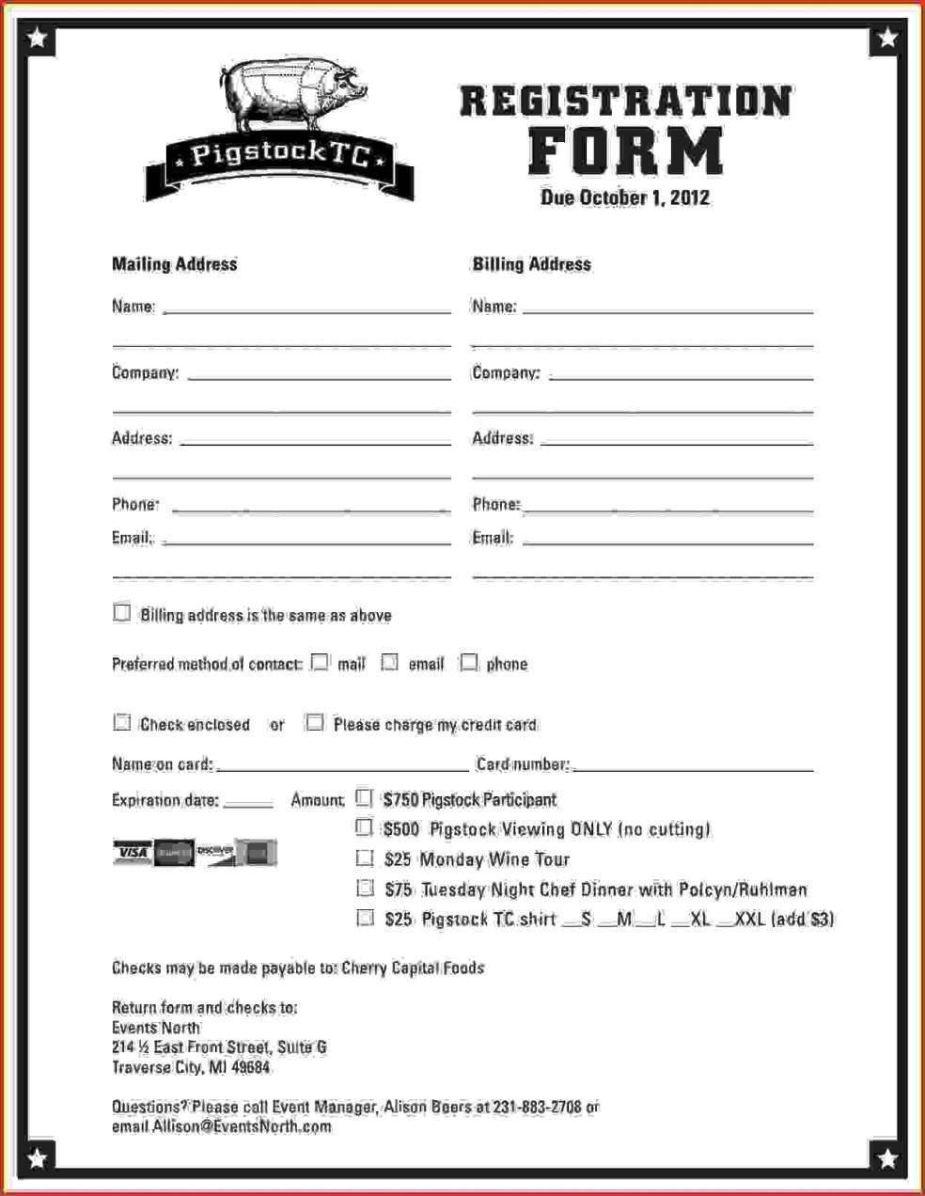 Dance School Registration Form Template Free