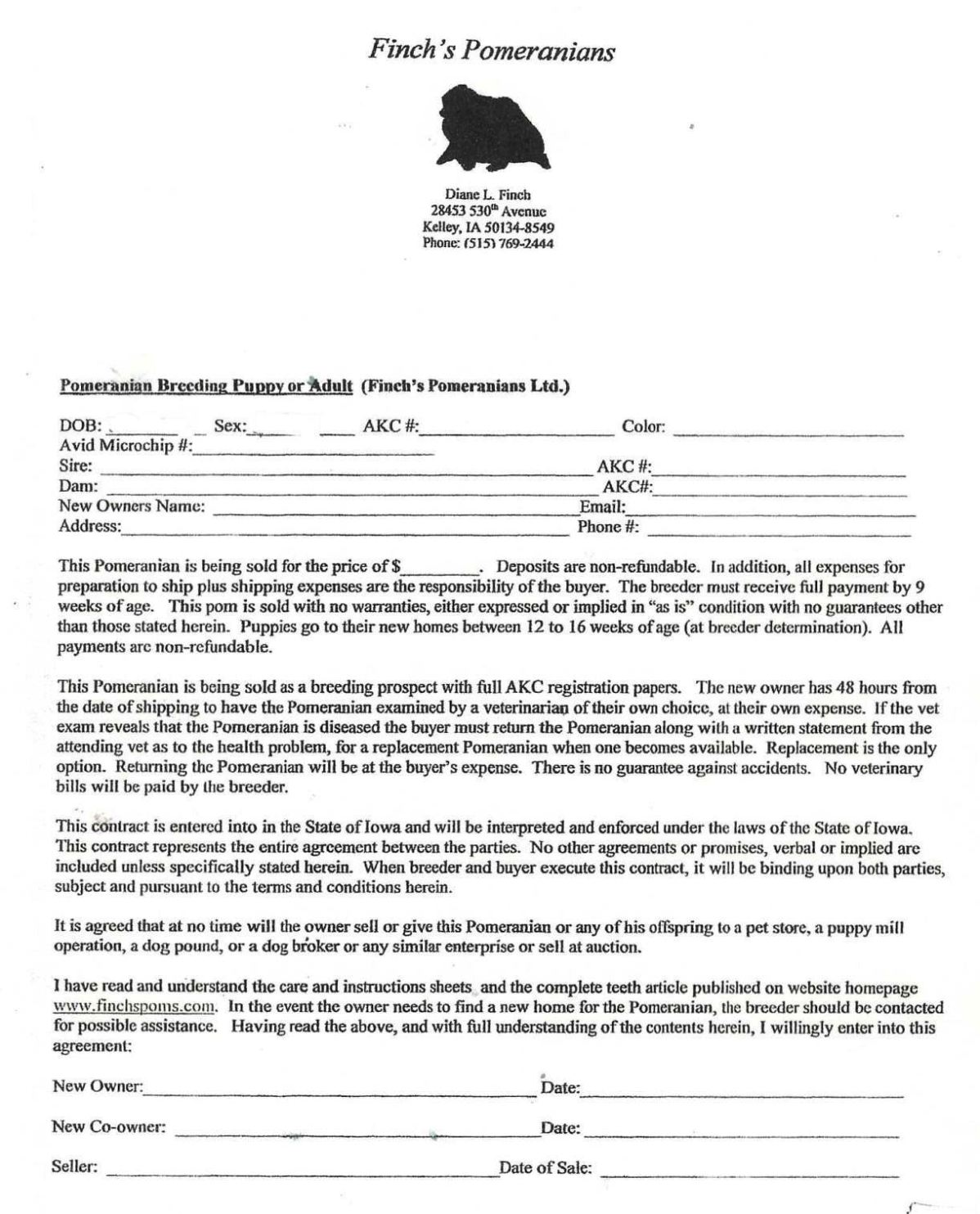Dog Breeding Contract Template