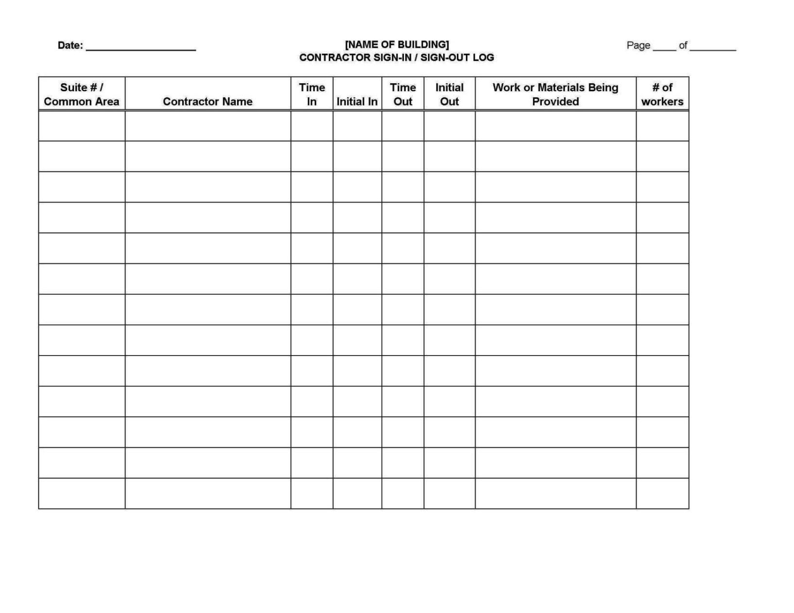 dr office sign in sheet template