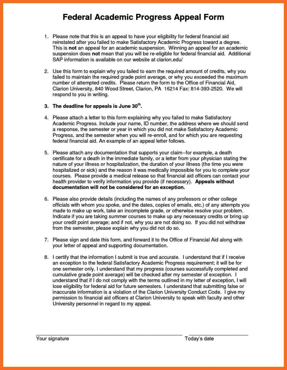 financial aid satisfactory academic progress appeal letter