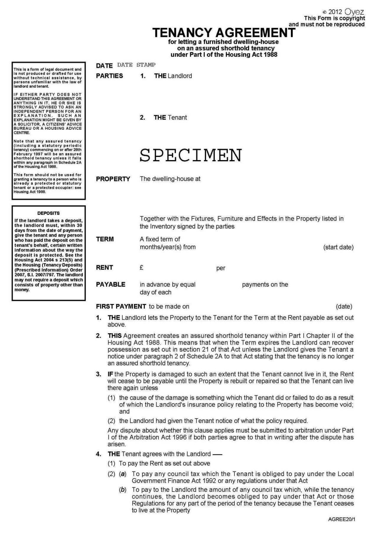free shorthold tenancy agreement template uk