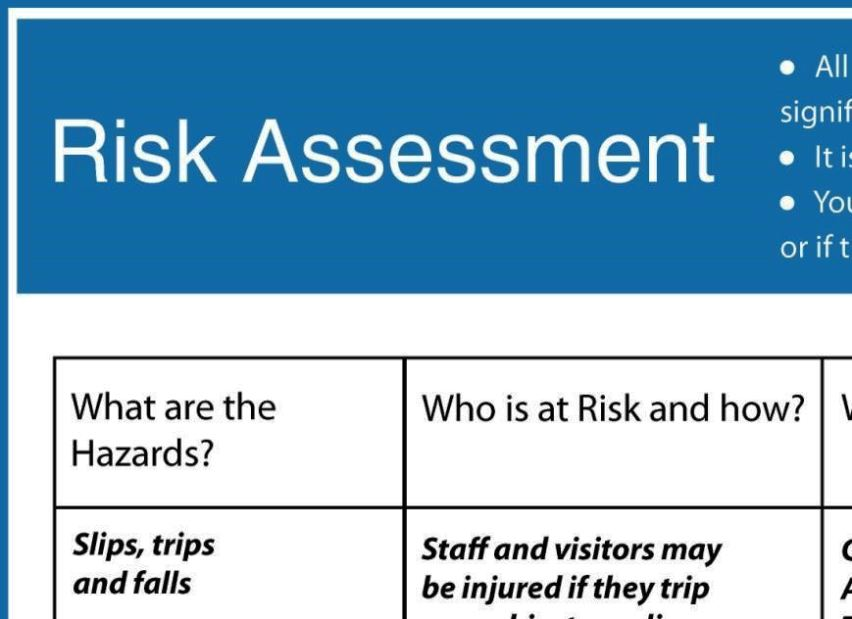 health and safety risk assessment form template
