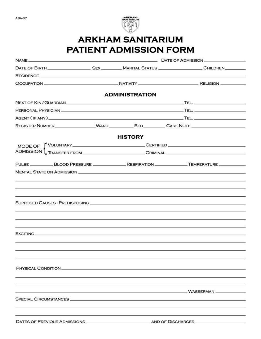 hospital admission orders template